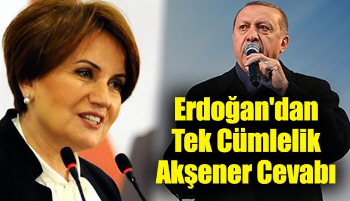 Erdoğan'dan Tek Cümlelik Akşener Cevabı