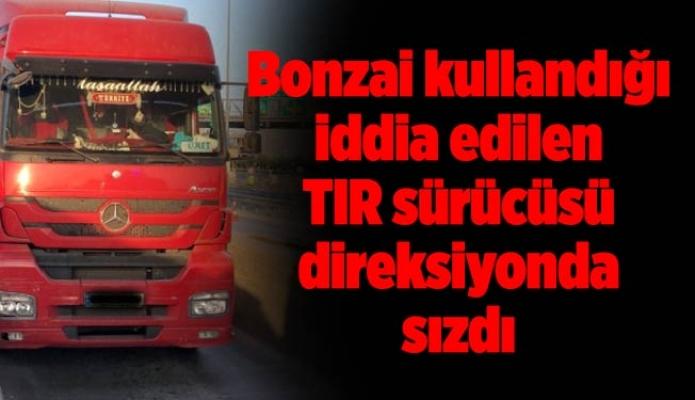 Bonzai kullandığı iddia edilen TIR sürücüsü direksiyonda sızdı