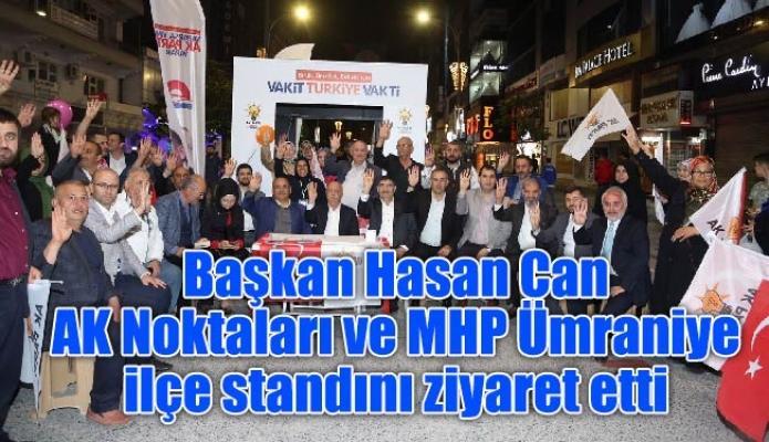 Başkan Hasan Can AK Noktaları ve MHP Ümraniye ilçe standını ziyaret etti