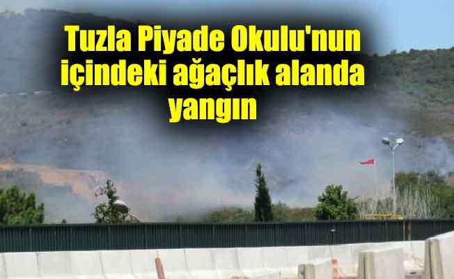 Tuzla Piyade Okulu'nun içindeki ağaçlık alanda yangın