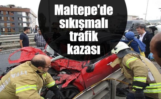 Maltepe'de sıkışmalı trafik kazası