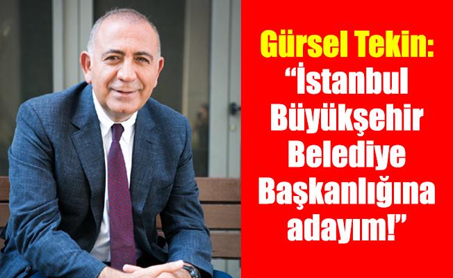"""Gürsel Tekin: """"İstanbul Büyükşehir Belediye Başkanlığına adayım!"""""""