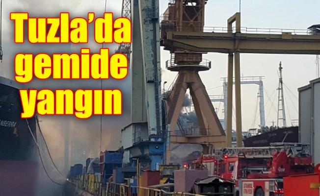 Tuzla'da gemide yangın