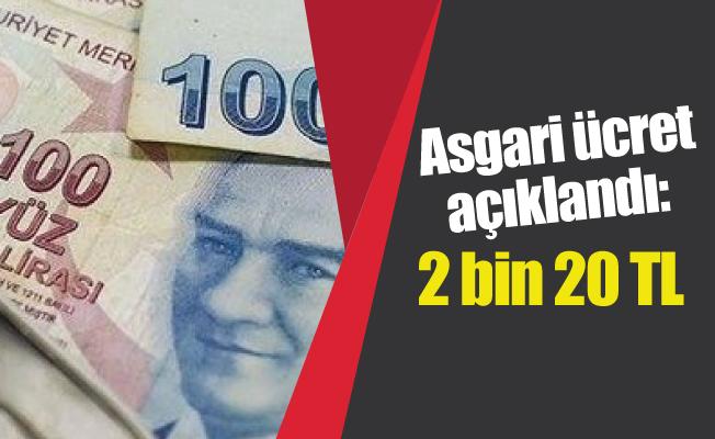 Asgari ücret açıklandı: 2 bin 20 TL