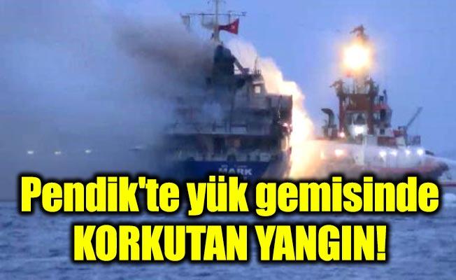 Pendik'te yük gemisinde korkutan yangın!