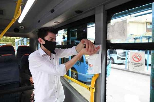 Minibüslere el dezenfekte ünitesi konuldu