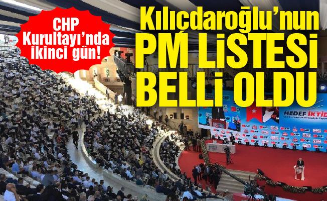 CHP Kurultayı'nda ikinci gün! Kılıçdaroğlu'nun PM listesi belli oldu