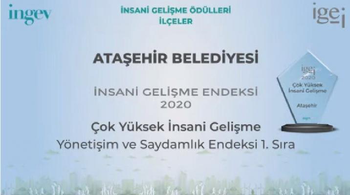 Ataşehir Belediyesi'ne Çok Yüksek İnsani Gelişme Ödülü