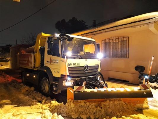 Kar Küreme ve Tuzlama Çalışmaları Gece Gündüz Devam Ediyor