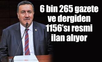 6 bin 265 gazete ve dergiden 1156'sı resmi ilan alıyor