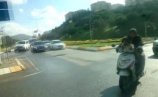Motosiklet yolculuğu yapan köpek şaşırttı