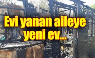 Evi yanan aileye yeni ev…
