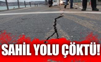 İstanbul'da sahil yolu çöktü !