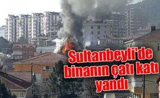 Sultanbeyli'de binanın çatı katı yandı