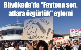 """Büyükada'da """"Faytona son, atlara özgürlük"""" eylemi"""