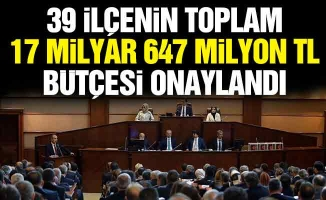 39 ilçenin toplam 17 milyar 647 milyon TL bütçesi onaylandı