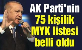 AK Parti'nin 75 kişilik MYK listesi belli oldu