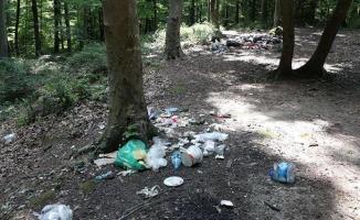 Piknikçiler ormanı çöplüğü çevirdi