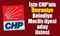 İşte CHP'nin Ümraniye Belediye Meclis üyesi aday listesi